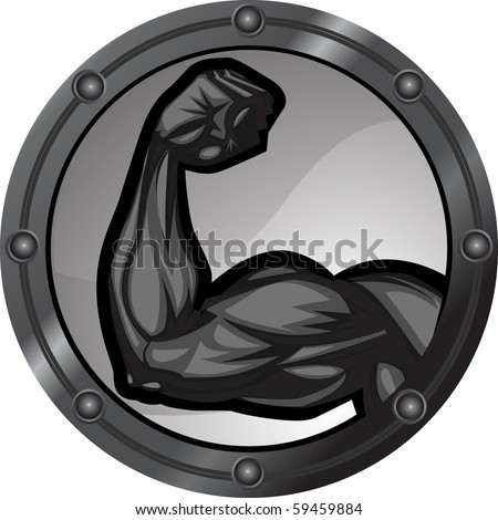 Muscular bicep flexing. The arm is on separate layers as are the background elements. - stock vector
