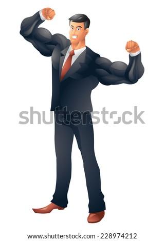 Muscular business man - stock vector