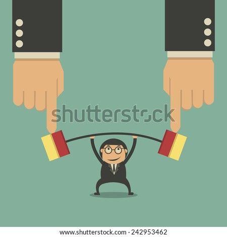 Muscular businessman lifting weights made of heavy files - stock vector