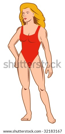 Muscular female standing front - stock vector