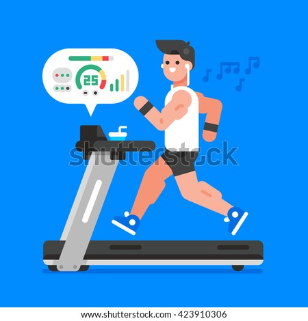 Muscular man listening to music while running on treadmill. Workout. Vector flat illustration. - stock vector