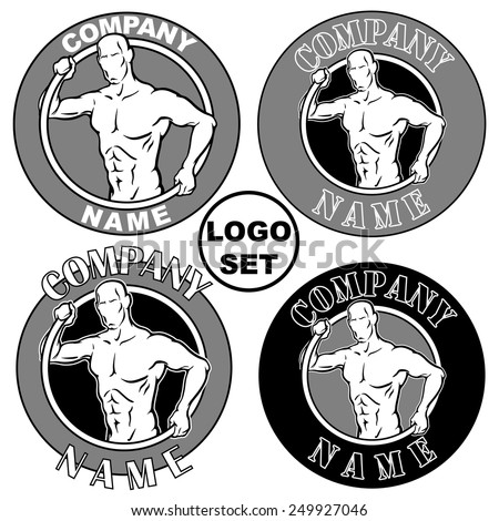 Muscular mans silhouette reaching out from the rim symbolizing a tire which is used for exercises in some gyms. Fonts Stencil, Britannic Bold and Arial were used. Set of EPS8 vector illustrations. - stock vector