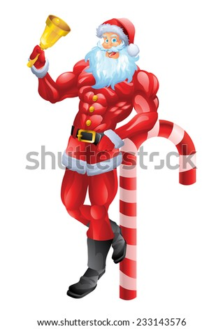 Muscular Santa Claus leaning on candy cane - stock vector