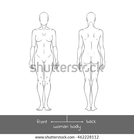 Muscular Young Woman Front Back View Stock Vector