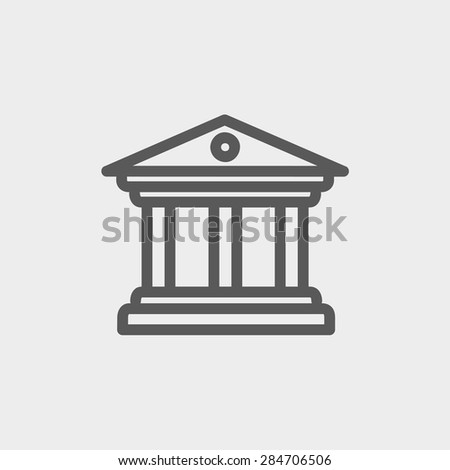 Museum building icon thin line for web and mobile, modern minimalistic flat design. Vector dark grey icon on light grey background. - stock vector