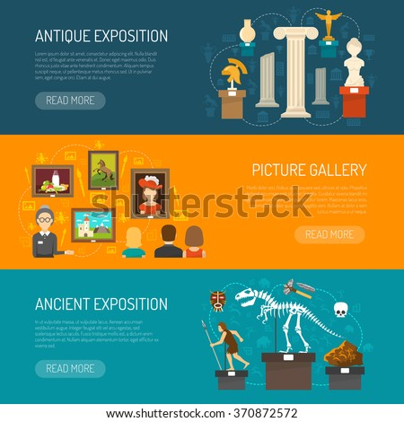 Museum horizontal banner set with exhibits of archaeological finds and antique expositions and picture gallery flat vector illustration  - stock vector