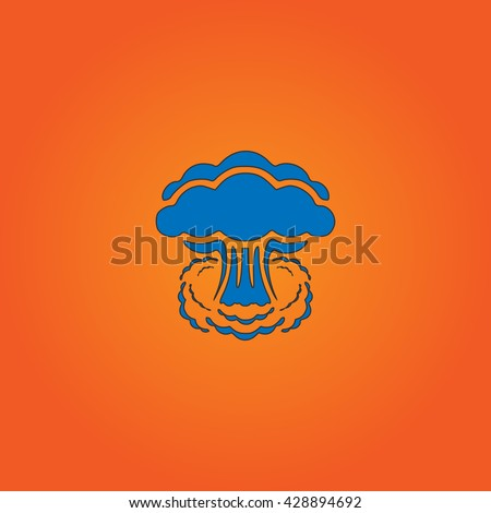 Mushroom cloud, nuclear explosion, silhouette. Blue flat icon with black stroke on orange background. Collection concept vector pictogram for infographic project and logo - stock vector