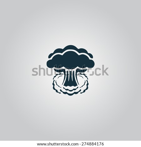 Mushroom cloud, nuclear explosion, silhouette. Flat web icon or sign isolated on grey background. Collection modern trend concept design style vector illustration symbol - stock vector