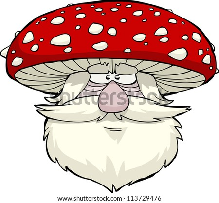 Mushroom head on a white background vector illustration - stock vector