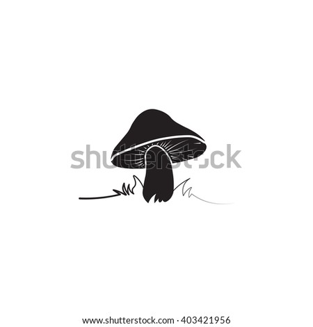 Mushroom icon. Simple black vector symbol. Logo for web. Image for business. - stock vector