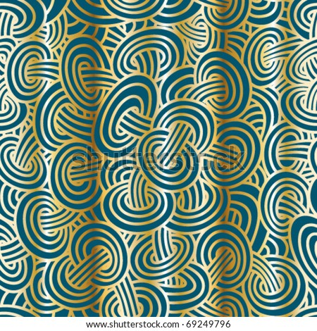 Mushroom shape seamless pattern. Gold on turquoise green. Swatch pattern included in vector file.