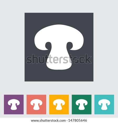 Mushroom. Single flat icon. Vector illustration. - stock vector