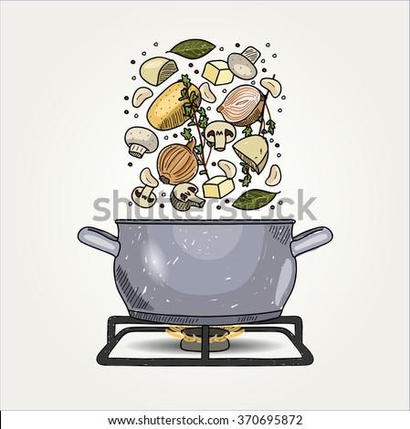 Mushroom Soup - stock vector