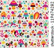 mushrooms, butterflies & snails pattern - stock vector