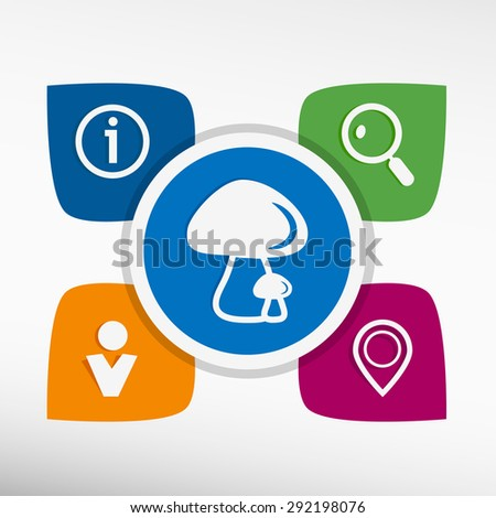 Mushrooms icon and icons set vector illustration. Modern Flat style  - stock vector