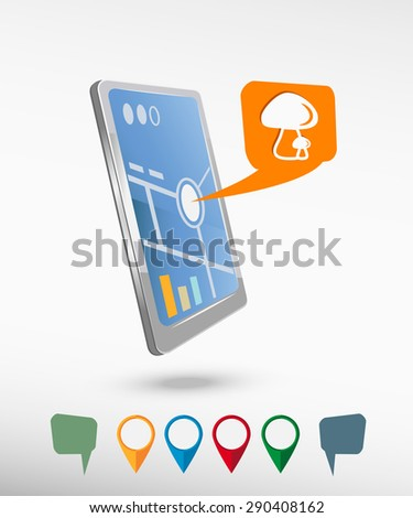 Mushrooms icon  and perspective smart phone vector realistic. Set of bright map pointers for printing, website, presentation element and application mock up. - stock vector
