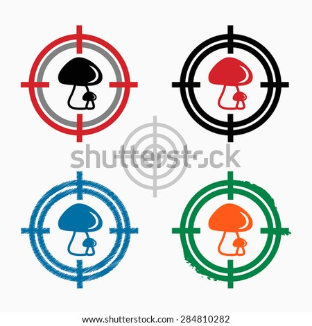Mushrooms icon on target icons background. Crosshair icon. Vector illustration. - stock vector