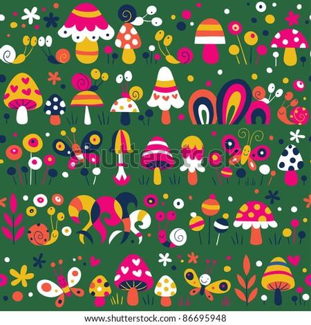 mushrooms snails butterflies pattern - stock vector