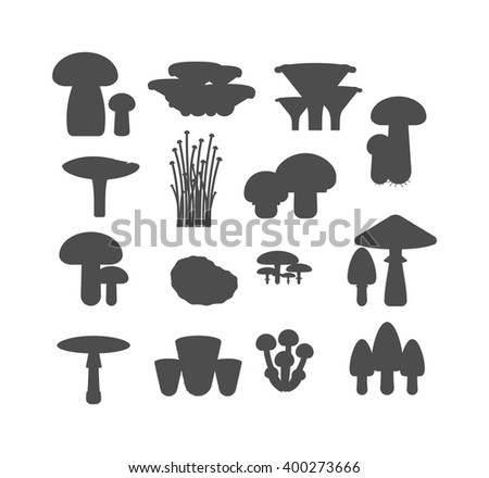 Mushrooms vector black silhouette illustration set. Different types of mushrooms isolated on white background. Nature mushrooms for cook food and poisonous mushrooms flat style - stock vector