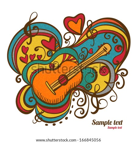 Music abstract icon with the guitar, hearts, musical note, treble clef isolated. Hand drawing illustration. Doodle. Cartoon. Vintage style. White background - vector - stock vector