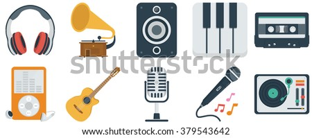 Music and audio flat icons set - stock vector