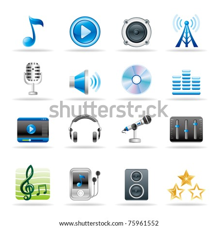 music and audio vector icon set - stock vector