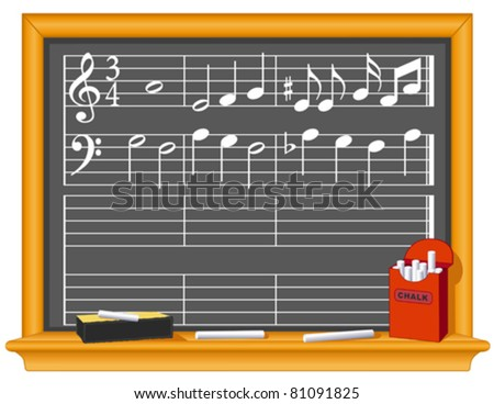 Music And Blackboard. Old fashioned classroom slate blackboard with music notes, chalk and eraser. Copy space to make your own music. EPS8 organized in groups for easy editing. - stock vector