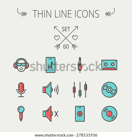 Music and entertainment thin line icon set for web and mobile. Set include-loudspeaker, headphone, microphone retro, cassette tape, control volume, vinyl disc  icons. Modern minimalistic flat design - stock vector