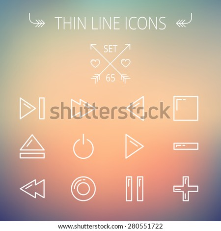 Music and entertainment thin line icon set for web and mobile. Set includes- function keys for music  icons. Modern minimalistic flat design. Vector white icon on gradient mesh background.