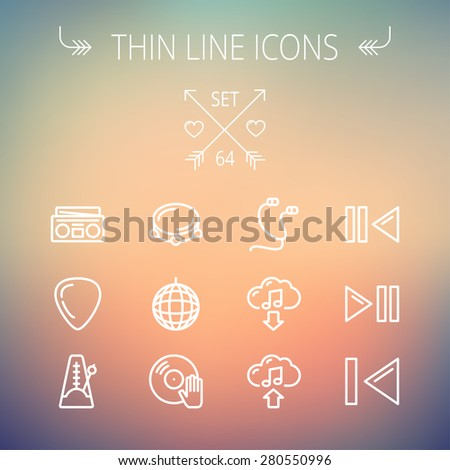 Music and entertainment thin line icon set for web and mobile. Set includes-metronome, guitar pick, upload and download, earphone, disco ball, cassette player, music button icons. Modern minimalistic - stock vector