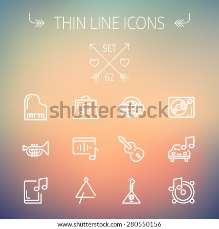 Music and entertainment thin line icon set for web and mobile. Set includes-Phonograph turntable, trumpet, piano, guitar, headphone, tambourine, car music  icons. Modern minimalistic flat design - stock vector