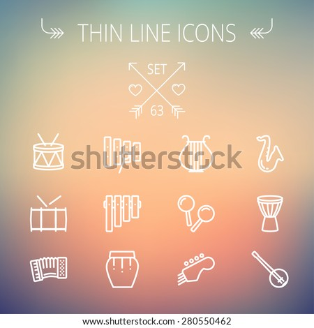 Music and entertainment thin line icon set for web and mobile. Set includes-xylophone, tuner, saxophone, banjo, maracas, organ, lyre icons. Modern minimalistic flat design. Vector white icon on - stock vector