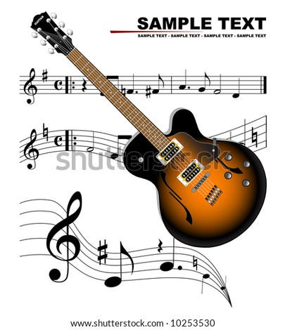 Music and guitar - stock vector