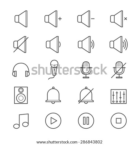 Music and Media Icons Line - stock vector