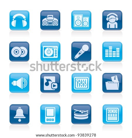 Music and sound Icons - Vector Icon Set - stock vector
