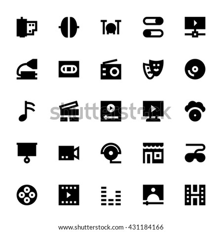Music, Audio, Video, Cinema and Multimedia Vector Icons 4 - stock vector