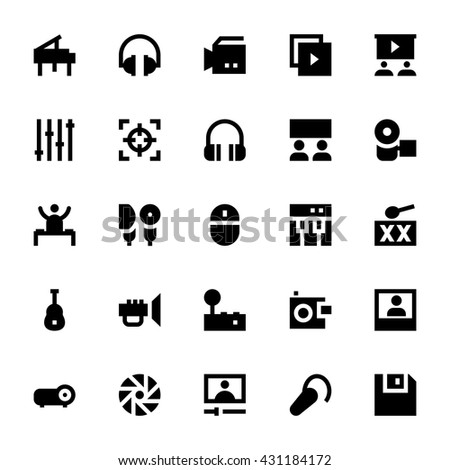 Music, Audio, Video, Cinema and Multimedia Vector Icons 1 - stock vector