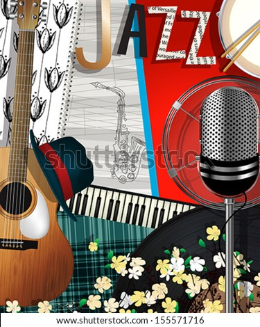 Music Background. Abstract collage illustration with musical instruments, jazz card - stock vector