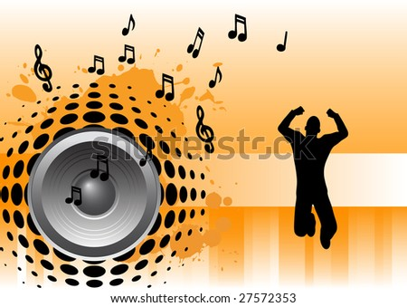 Music Background - Bass speaker with man jumping - stock vector