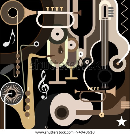 Music Background - color vector illustration. Abstract collage with musical instruments - guitar, sax and trumpet. - stock vector