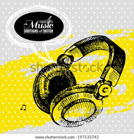 Music background. Hand drawn illustration and typography design  - stock vector