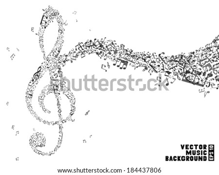 Music background. Music notes and treble clefs. Music wave background. Black and white vector illustration. - stock vector