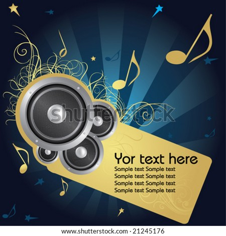 Music background whit golden flower and text frame - stock vector