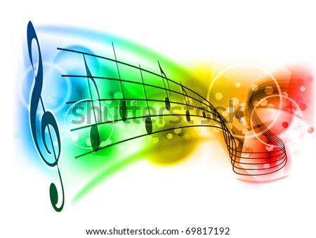 music background with color note - stock vector
