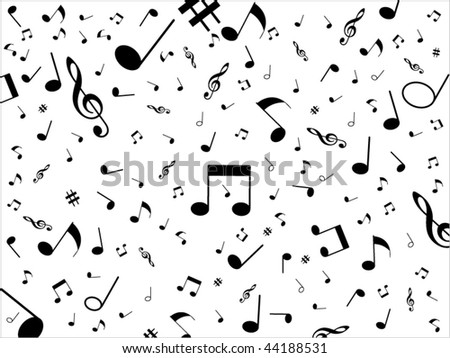 Music background with different notes on the white