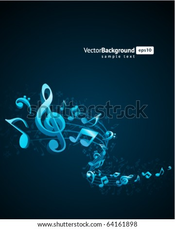 Music background with fly notes - stock vector