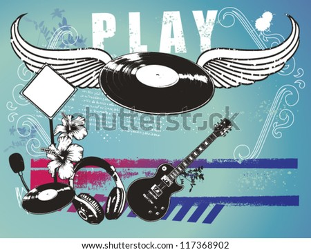 music background with instruments and disc with wings - stock vector
