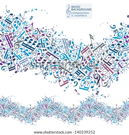 Music background with musical notes and seamless composition, vector pattern. - stock vector