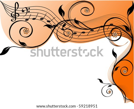 Music background with notes and flowers. vector illustration - stock vector