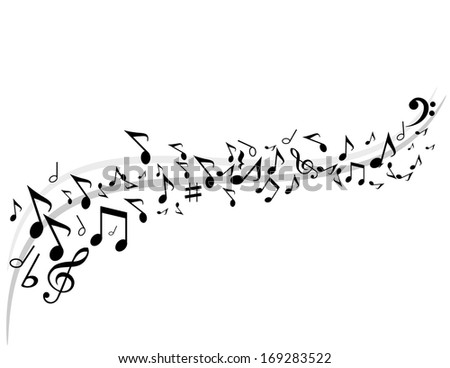 Music background with notes on the stave vector